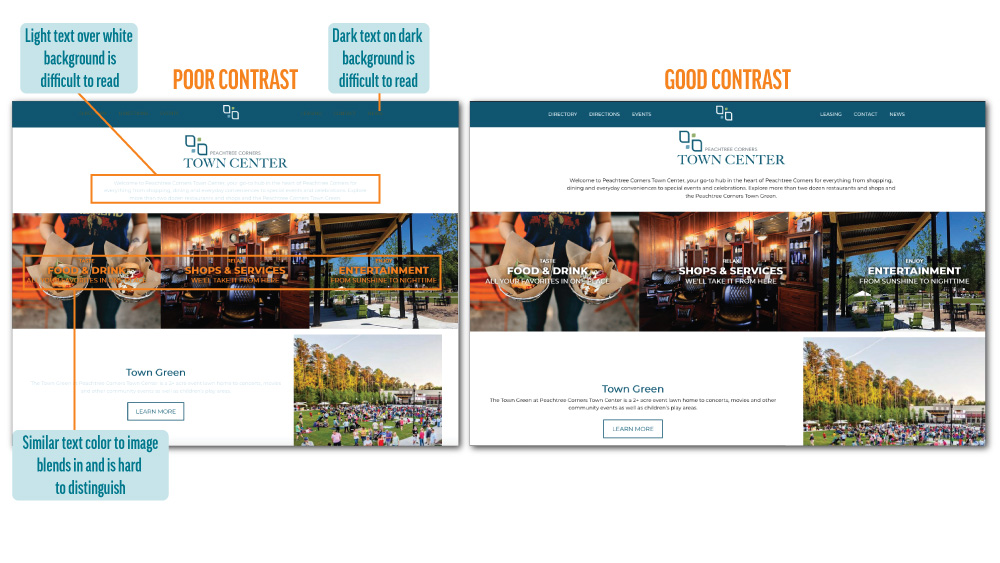 Comparison of Good and Poor Contrast Shown on Website